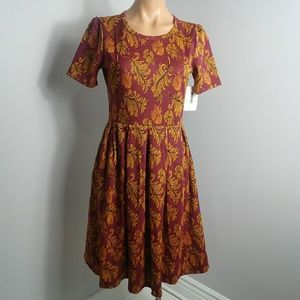 Lularoe Amelia Dress size M Maroon Gold